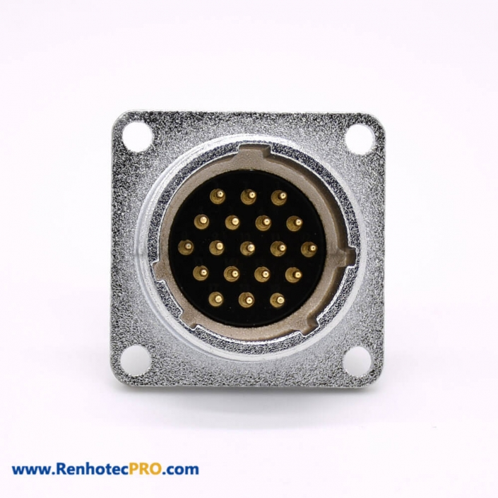 19 Pin Connector P24 Male Straight Socket Square 4 holes Flange Mounting Solder Cup for Cable