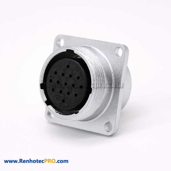 Connector 15 Pin P24 Female Straight Socket Square 4 holes Flange Mounting Solder Cup for Cable