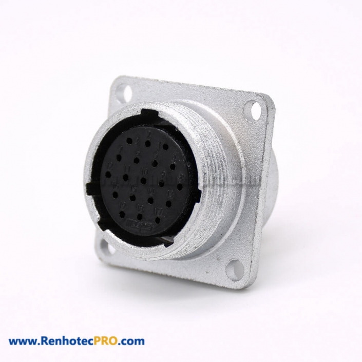 Connector 19 Pin P24 Female Straight Socket Square 4 holes Flange Mounting Solder Cup for Cable