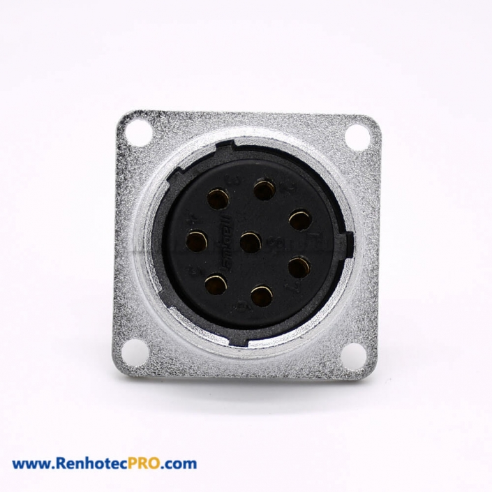 P20 Connector Female 8 Pin Straight Socket Square 4 holes Flange Mounting Solder Cup for Cable