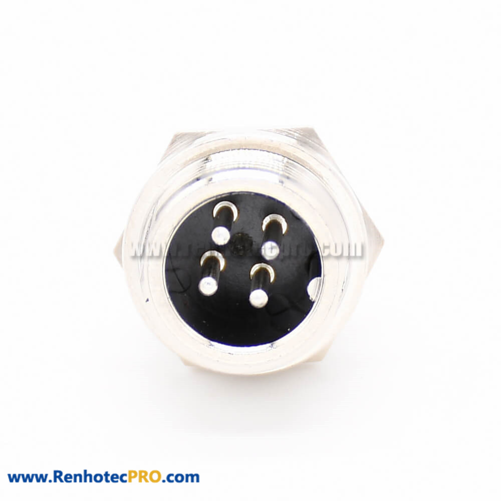 GX12 Connector 4Pin Straight Standard Type Female Pulg to Male Socket Rear Bulkhead Solder Type For Cable