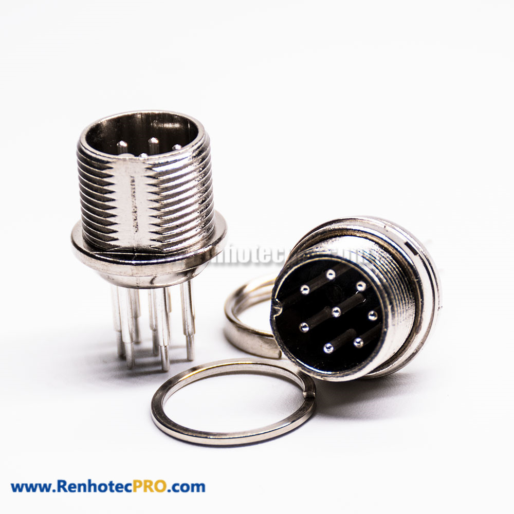 gx16 5 Pin Connector Straight Standard Type Male Socket Frount Bulkhead Solder Type For Cable