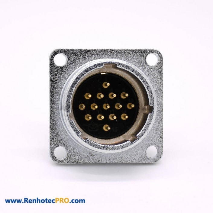 15 Pin Connector P24 Male Straight Socket Square 4 holes Flange Mounting Solder Cup for Cable