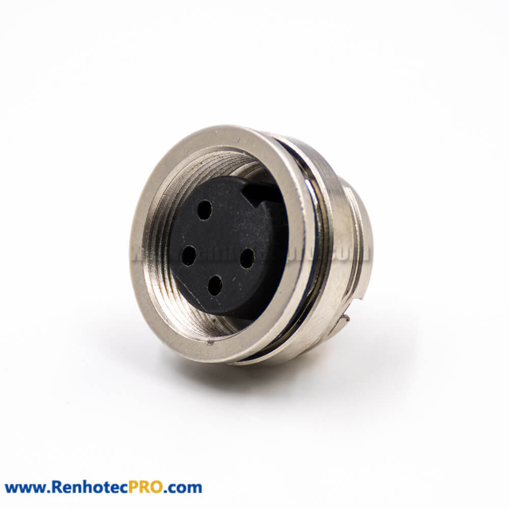 M16 Connector 4 Pin Female A-Coding Straight Solder Cup Cable Rear Blukhead Connector