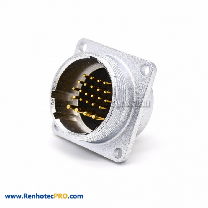Flange for Socket P28 Straight 24 Pin Male 4 Holes Flange Connector