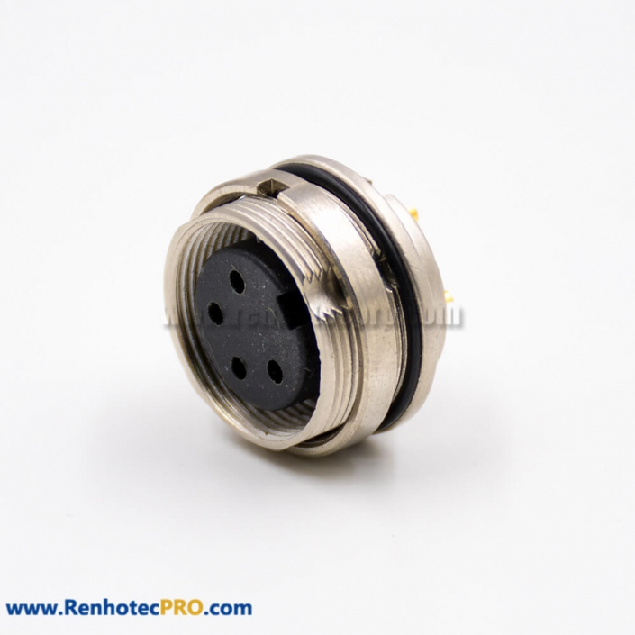 M16 Connectors Female Socket 4 Pin A Coded Straight Solder Cup Cable Front Panel Mount Connector