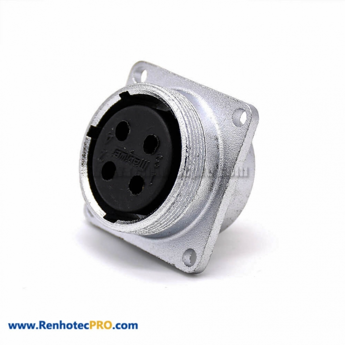 4 Pin Connector P28 Female 4 Holes Flange Straight Socket