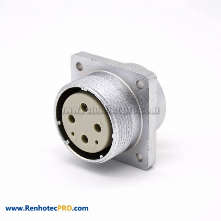 Connector 6 Pin P32 Female Straight Socket Square 4 holes Flange Mounting for Cable Solder Cup
