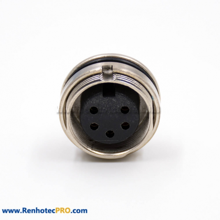 M16 5Pin Connector Panel Receptacles Female Straight A Coded Front Bulkhead Solder Cup Cable Connector