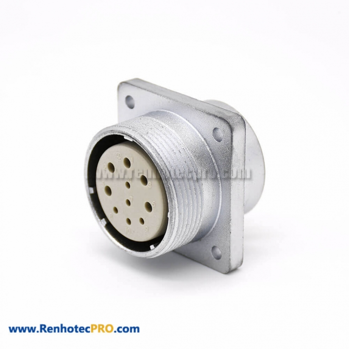 Connector 10 Pin P32 Female Socket Straight Square 4 holes Flange Mounting Solder Cup for Cable