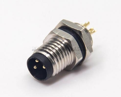 M8 Industrial Connector Straight 3 Pin Male Socket Solder Cup Waterproof Blukhead Panel Mount
