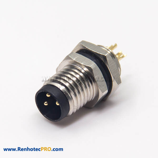 M8 Industrial Connector Straight 3 Pin Male Socket Solder Cup Waterproof Blukhead Panel Mount