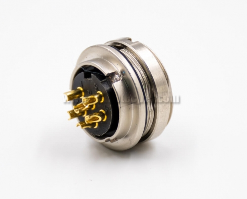 M16 Connector Female Socket 6 Pin A Coded 180 Degree Solder Cup Cable Front Panel Mount Connector