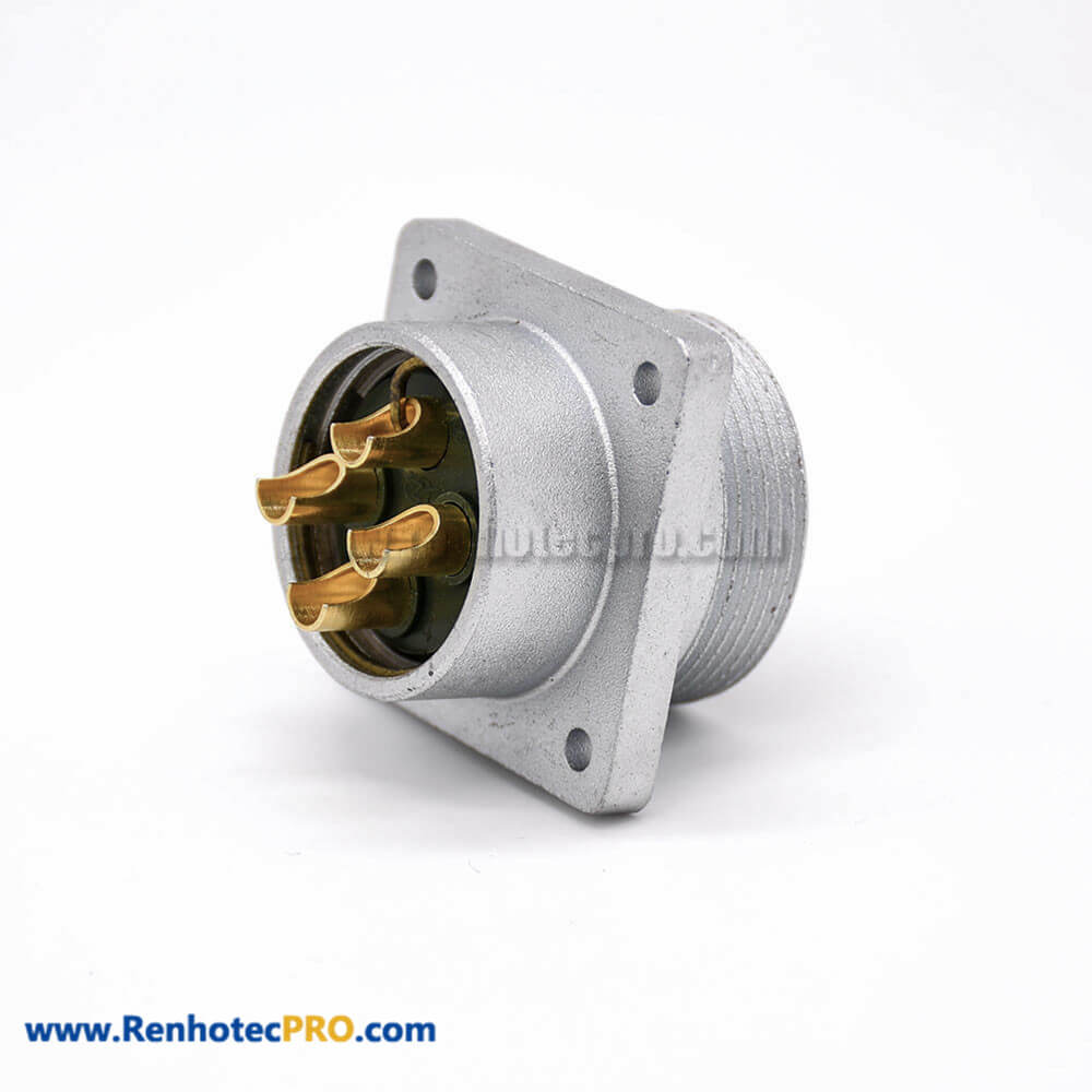 Male electrical Socket P32 Straight 4 Pin 4 Holes Flange Receptacles