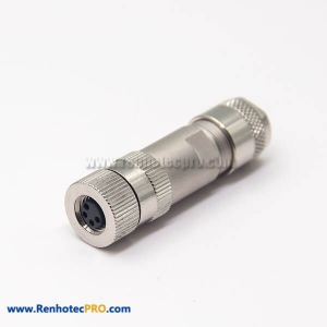 Female Connector M8 4 Pin Straight Aviation Plug Metal Shell Screw-Joint