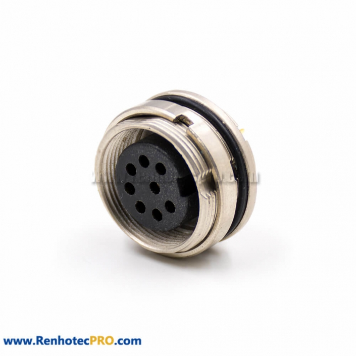 M16 8 Pin Connector A Coded Female 180 degree Solder Bulkhead Panel Receptacles