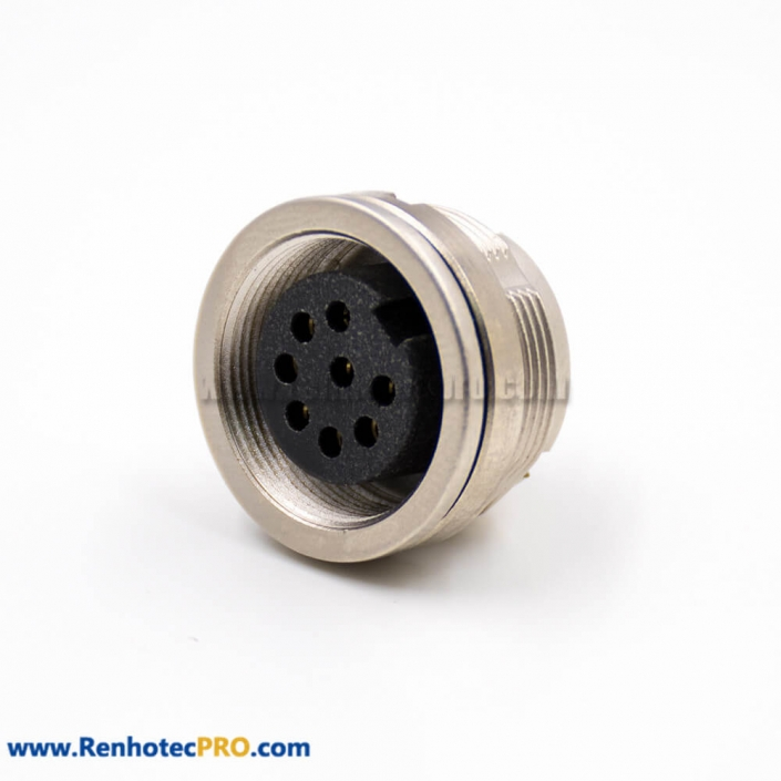 M16 Socket Female 8 Pin A Coded 180° Panel Receptacles Solder Cup Rear Bulkhead