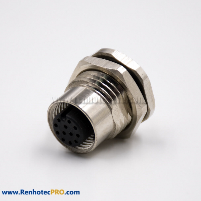 M12 Solder Cup Panel Receptacles A Coded Straight 12 Pin Female Cable Solder Front Mount