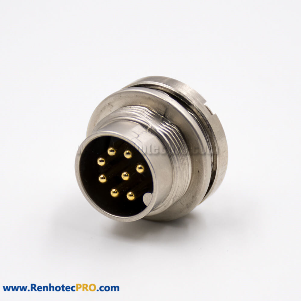 M16 Male 8 Pin Panel Receptacles Front Bulkhead A Coded Straight Cable Solder Type