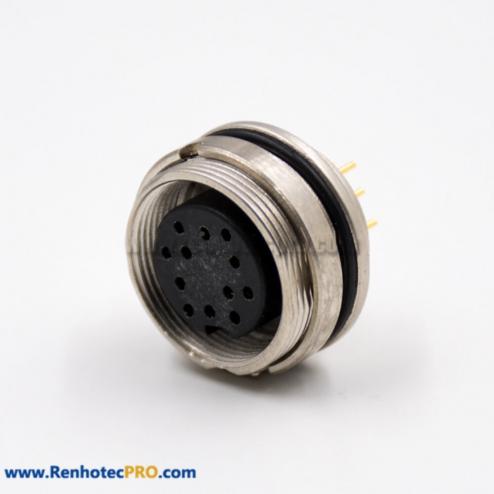 M16 Connector Female Panel Receptacles Front Mount A Coded 12 Pin Straight PCB Mount