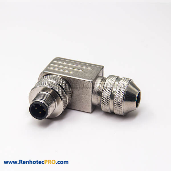 M12 Right Angle Connector A Code Field Installable 4 Pin Male Plug Shielded for Cable