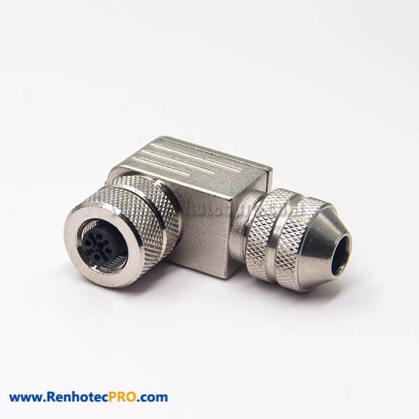 M12 Field Wireable Connector A Code 5 Pin Right Angle Female Metal Plug