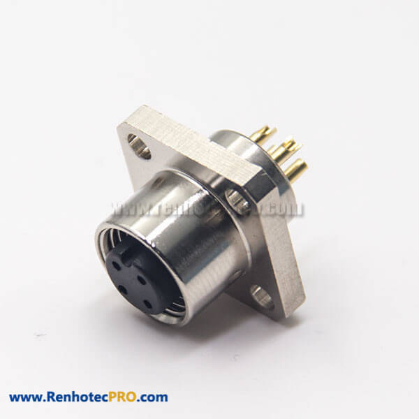 M12 Panel Mount Receptacle 4 Pin A Code Flange Solder Type Aviation Connector Rear Blukhead