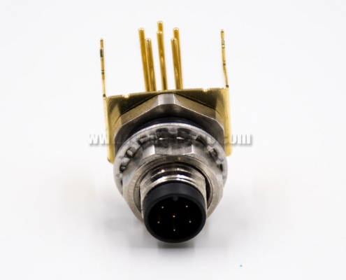 Right Angle M8 Connectors 6Pin A-Coding Panel Receptacles Male Through Hole Front Mount Waterproof