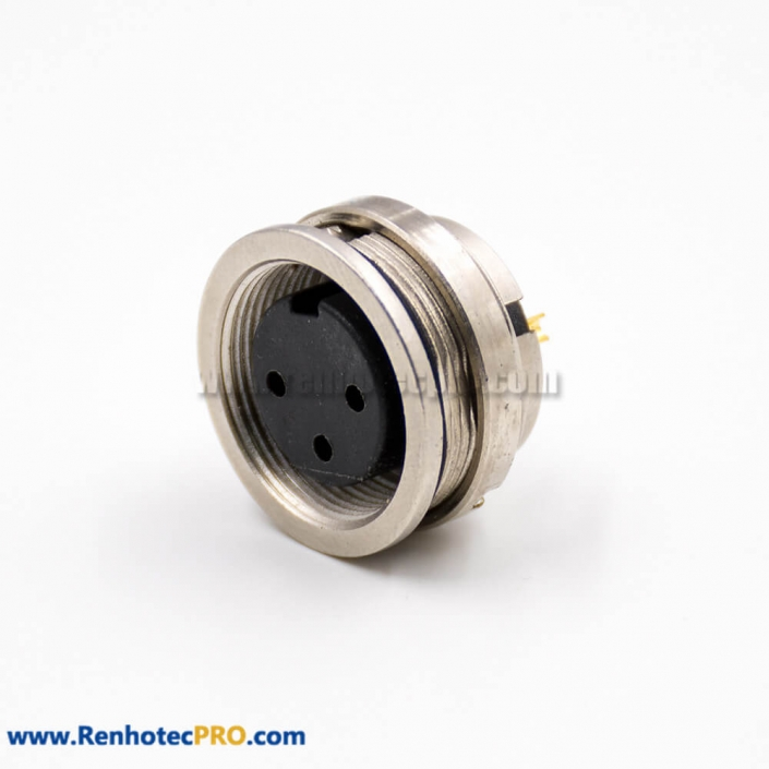 M16 Connector Female Socket 3 Pin A Coded Straight Solder Cup Cable Rear Panel Mount Connector