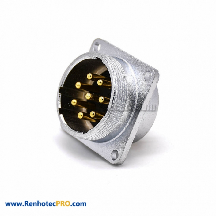 8 Pin Male Connector P28 4 Holes Flange Straight Socket