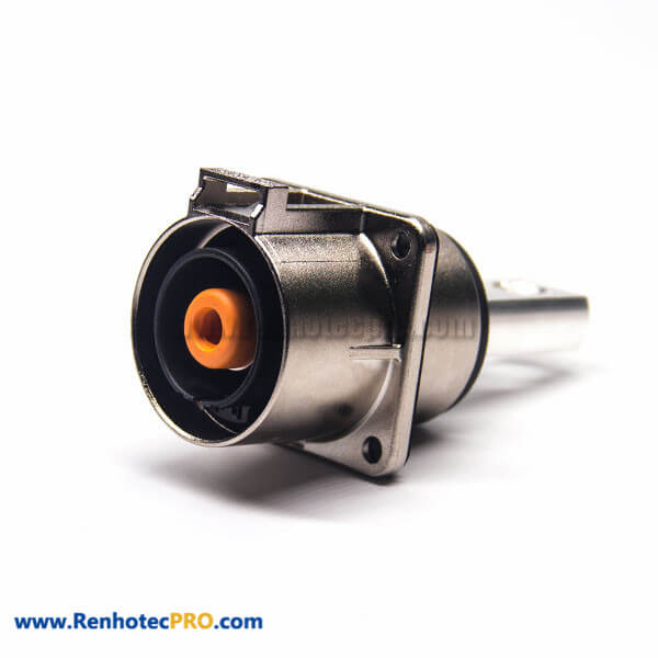 Coaxial High Voltage Connector 1 Pin Straight 4 Hole Flange 200A Metal Socket