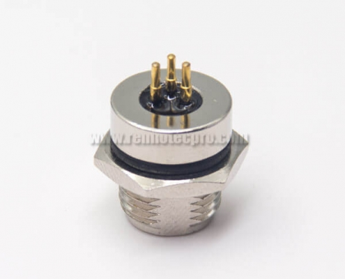 M8 Circular Connector Female Receptacle 3 Pin Waterproof for PCB Mount Blukhead