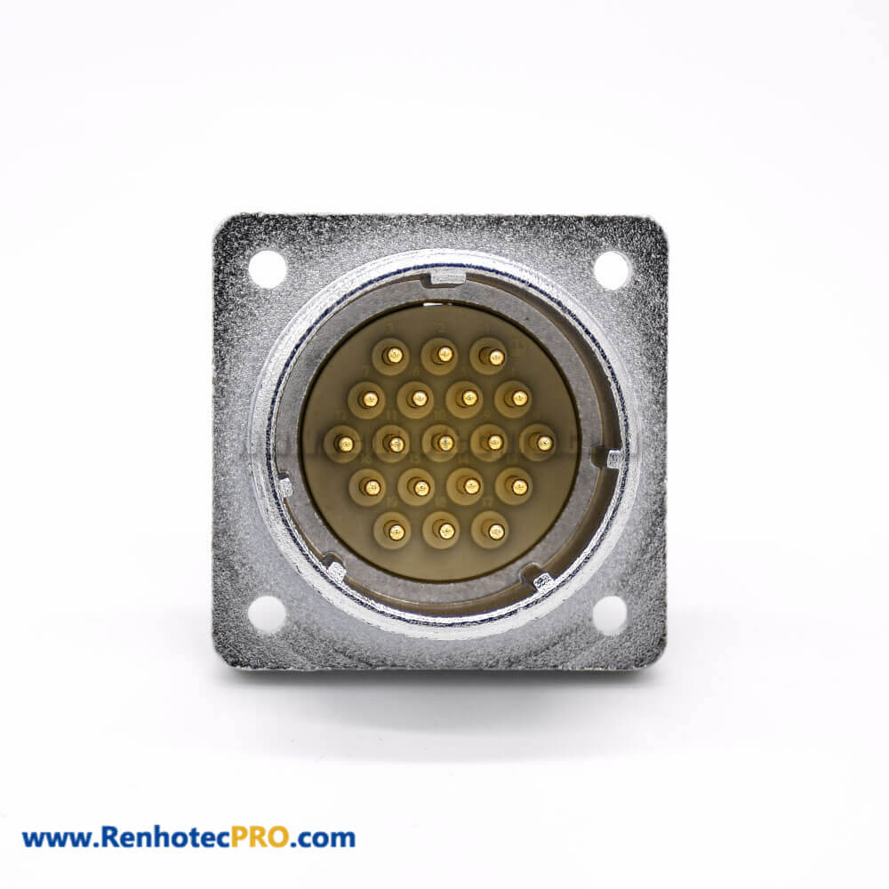 Connector 19 Pin P32 Male Straight Socket Solder Cup for Cable Square 4 holes Flange Mounting