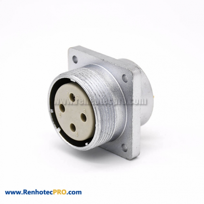 4 Pin Connector P32 Female Straight Socket Square 4 holes Flange Mounting for Cable Solder Cup