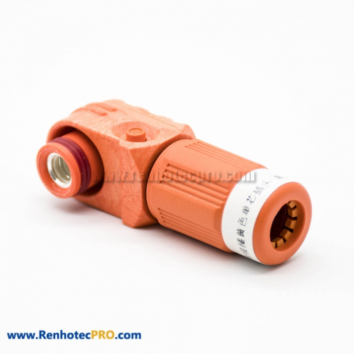High Voltage Battery Connector Female 200A IP67 1 Pin Cable Plastic Orange 8mm Right Angle Plug