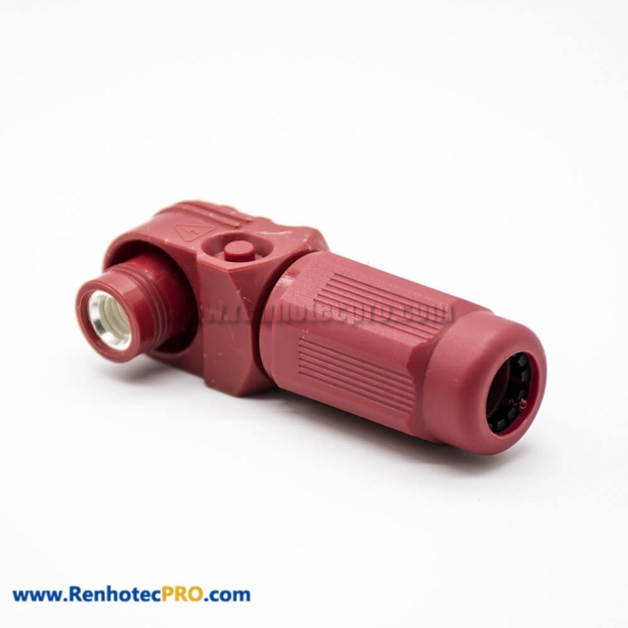 Surlok Power Connectors Female IP67 12mm 1 Pin 350A Cable Right Angle Plug Plastic Red