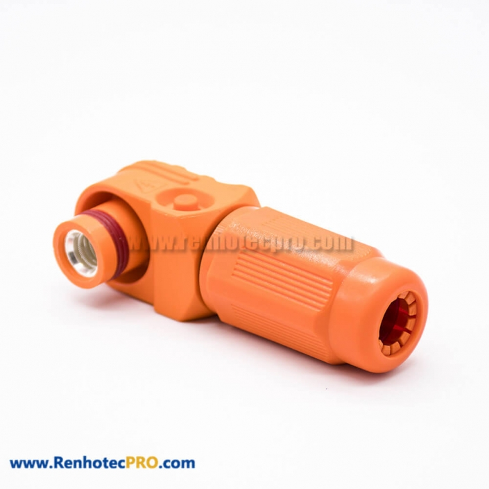 Surlok Plus Orange Female Plug 1 Pin 12MM Plastic 350A IP67 Right Angle HV Connector