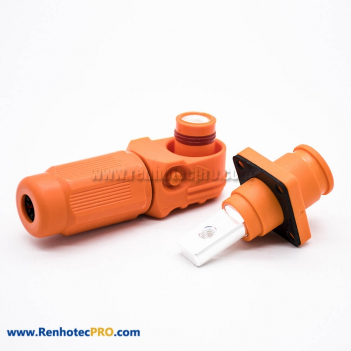Surlok Plus With Hvil 1 Pin 8MM Plastic Orange IP67 200A Connector Female To Male Right Plug Butt-Joint Socket