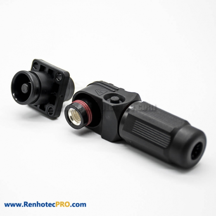 Surlok Power Connectors 1 Pin 8MM 200A Female To Male IP67 Female To Male Black Right Plug Butt-Joint Socket