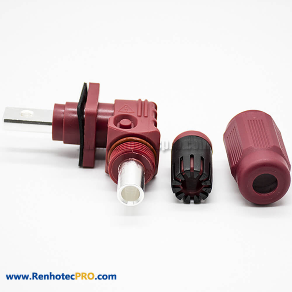 Surlok Connectors Butt-Joint Socket Female To Male 1Pin 14MM 400A IP67 Plastic Red 90°Plug
