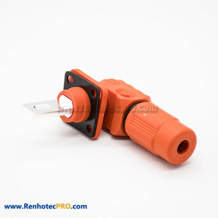 Surlok Clamps IP67 400A Orange Female To Male Right Plug Butt-Joint Socket 1Pin 14MM Plastic Connector