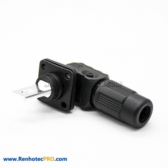 Surlok Plus Crimp 350A Plastic 1 Pin 12MM Female To Male 90°Plug Butt-Joint Socket IP67 Black Connector