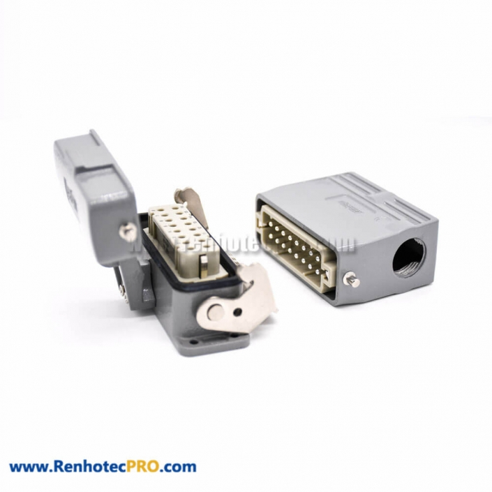 10 Pin Electrical Connector Heavy Duty H16A Silver Plating Size M25 Bulkhead Mounting Female Butt-joint Male