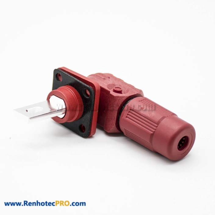 HV Connectors 1 Pin 12MM Female To Male Right Plug Butt-Joint Socket 350A Red Plastic