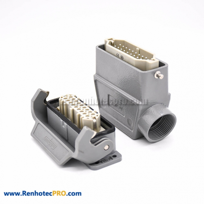 Heavy Duty Multi Pin Connector H16A 18Pin Silver Plating Size Plastic button Female Butt-joint Male PG21