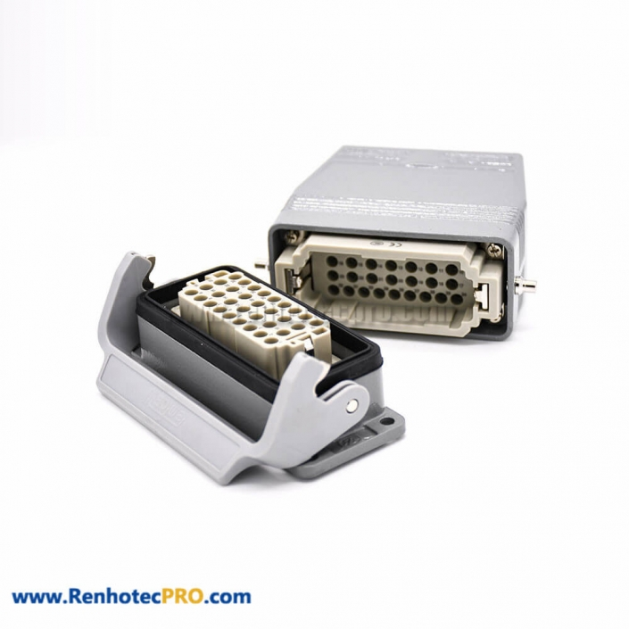 Heavy Duty Rectangular Connectors 36Pin H16B Male Without Contacts Size M40 Bulkhead Mounting Female Butt-joint Male