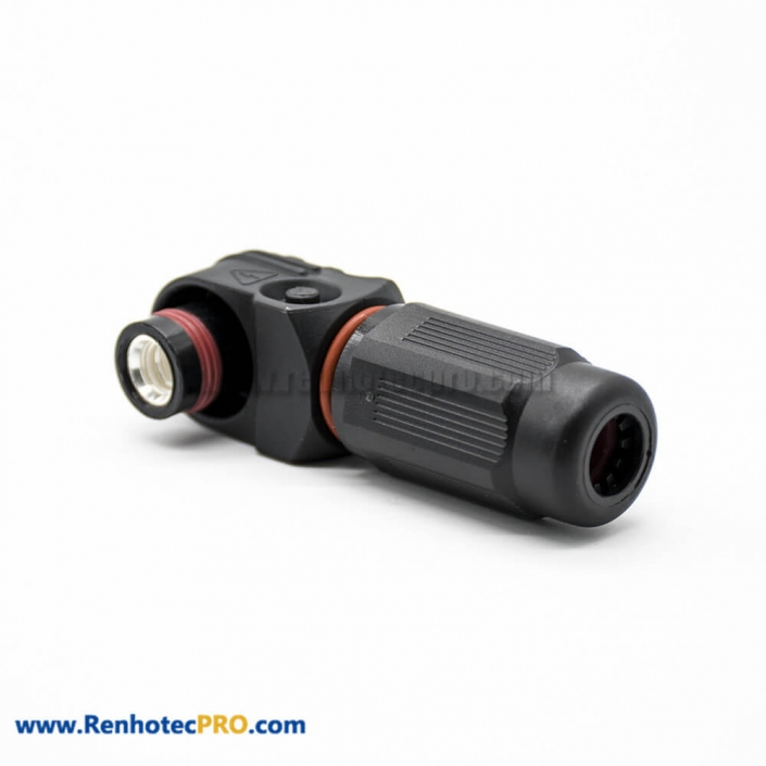 Waterproof High Current Battery Connectors Female Plug 14mm 1 Pin 400A IP67 Cable Right Angle Plastic Black