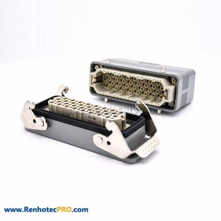 Heavy Duty Rectangular Connectors 32Pin Male Without Contacts Male Female Butt-Joint Hasp PG21 H24B Shell Bulkhead Mounting