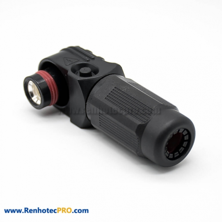 HV Connector Female Black Right Angle Plug 1 Pin 12MM 350A Plastic IP67 surlok plus
