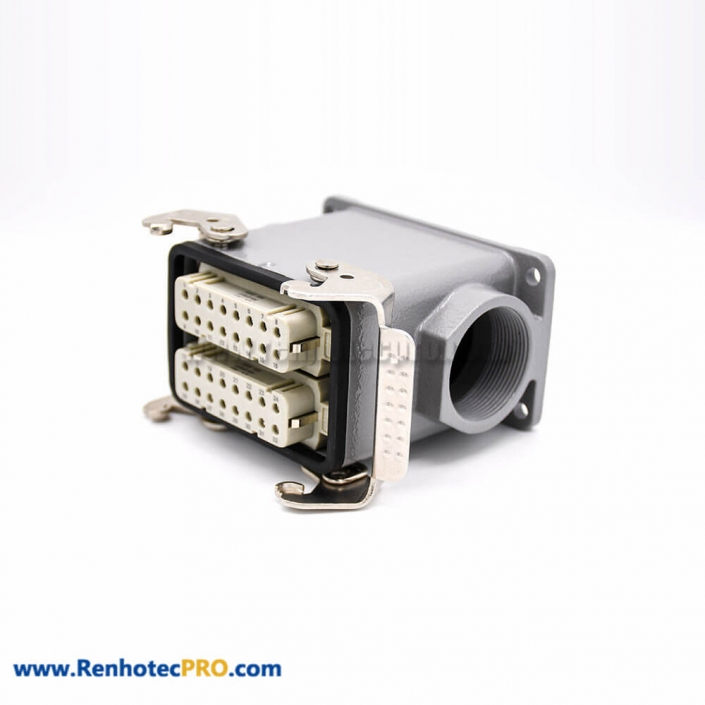 Heavy Duty 32 Pin Connector PG29 H32A Shell Hasp High Surfice Mounting High Top Cable Entry Male female Butt-Joint
